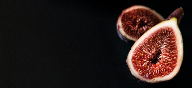 High angle of autumn figs halves with copy space