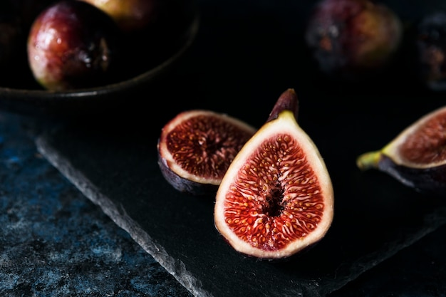 High angle of autumn figs halves