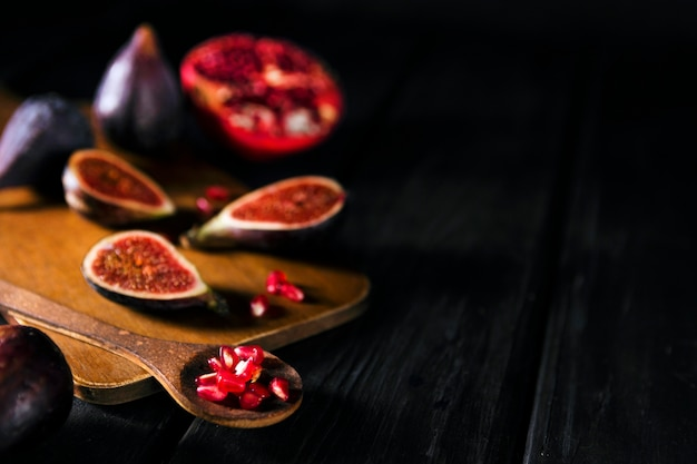 High angle of autumn figs with copy space