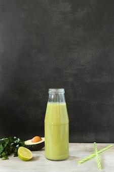 High angle avocado smoothie