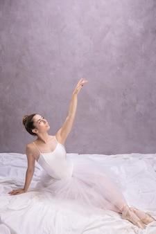 High angle ballerina looking away