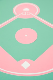 High angle baseball field minimal still life