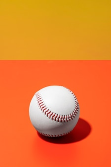 High angle of baseball with copy space