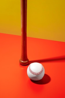 High angle of baseball with wooden bat