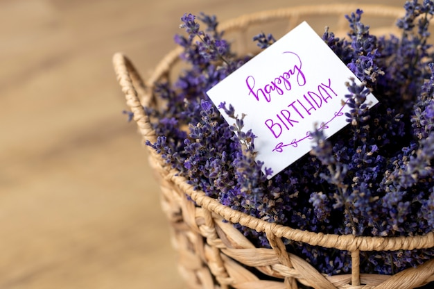 High angle basket with lavender