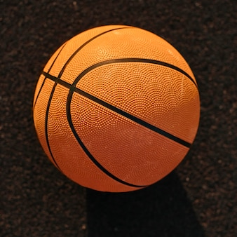 High angle basketball on a field close-up