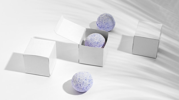 High angle bath bombs on white background