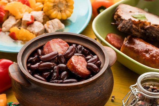 ハイアングル豆とソーセージ