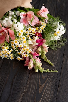 High angle of beautiful flowers bouquet