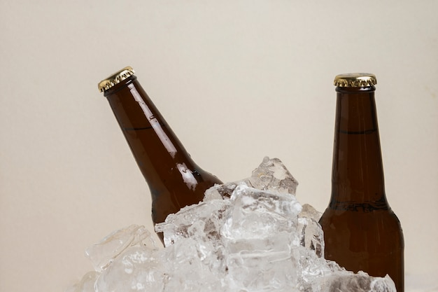 High angle beer bottles in ice cubes