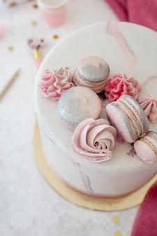 High angle of birthday cake concept
