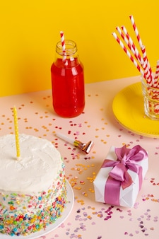 High angle birthday cake and present