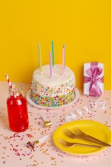 High angle birthday cake