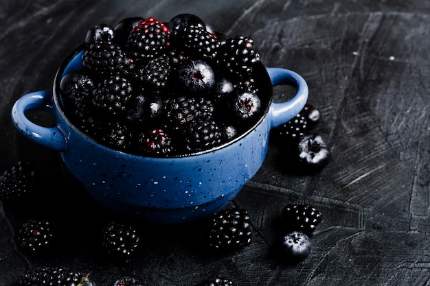 High angle black forest fruits in pot