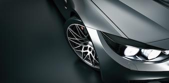 High angle black sports car