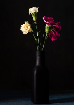 High angle blooming roses in vase