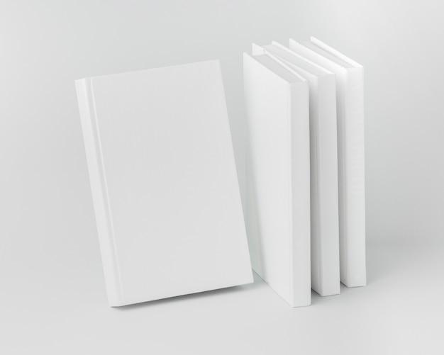 High angle books aligned on desk
