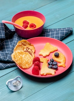 High angle of bowl and plate with baby food and fruits