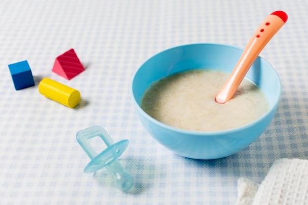 High angle bowl with baby food
