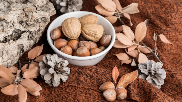 High angle of bowl with chestnuts and walnuts with autumn leaves