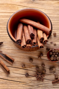 High angle of bowl with cinnamon sticks and star anise