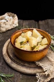 High angle bowl with potatoes