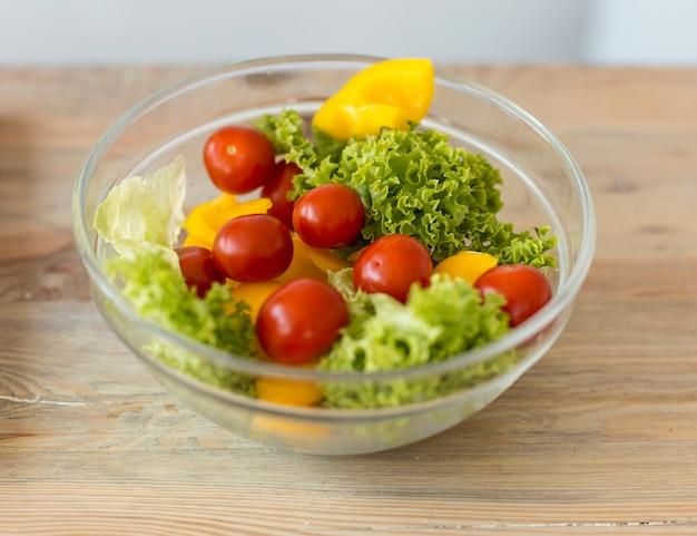 High angle bowl with salad