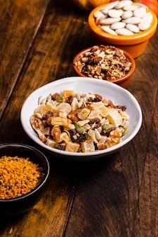 High angle bowls with lokum and seeds