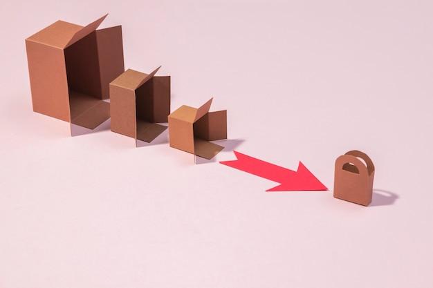 높은 각도 상자 및 빨간색 화살표 배열