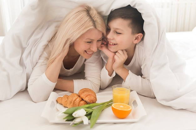 High angle breakfast in bed for mother