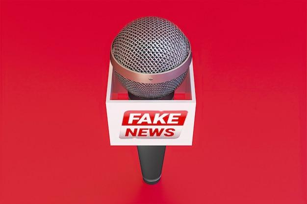High angle of broadcasting microphone with fake news