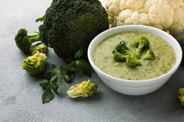 High angle broccoli vegetables and bisque