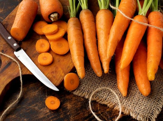 High angle bunch of fresh carrots arrangement