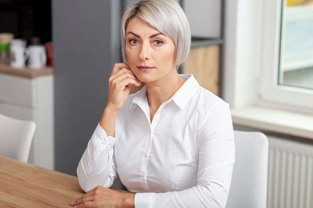 High angle business woman at office