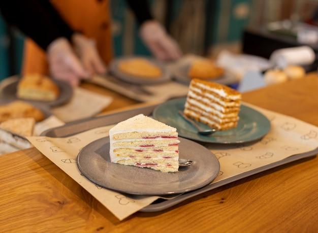 High angle cake slices arrangement