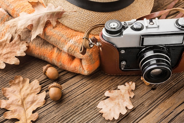 High angle camera with autumn leaves and acorns
