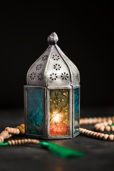 High angle candle on ramadan day