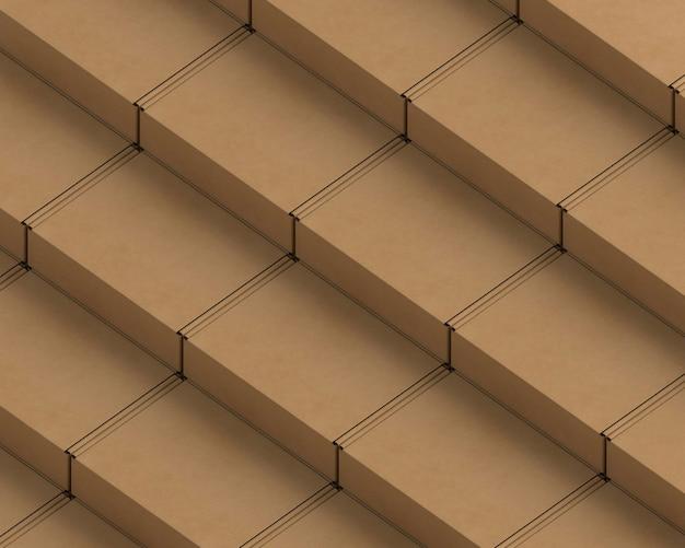 Расположение картонных пакетов под большим углом