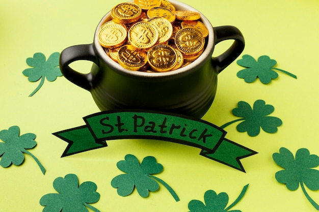 High angle cauldron with gold st patrick