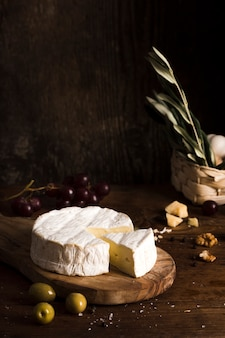 High angle cheese arrangement on table