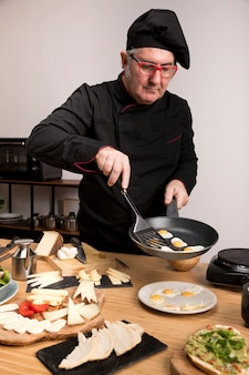 High angle chef cooking