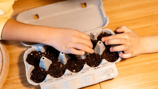 Alto angolo di bambini che piantano semi a casa