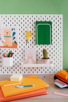 High angle of children's desk with organizer