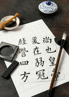 High angle chinese ink elements assortment