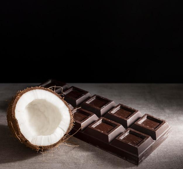 High angle chocolate bar and coconat