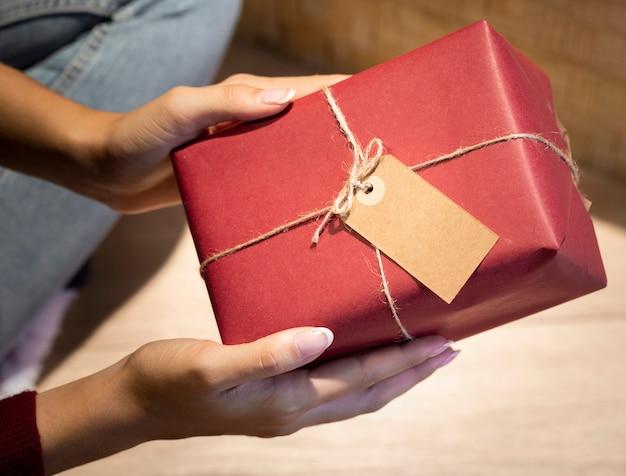 High angle christmas gift wrapped at home