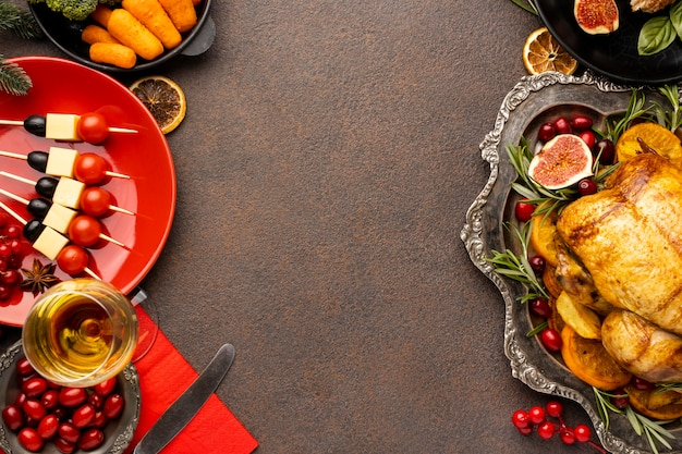 High angle christmas meal assortment with copy space