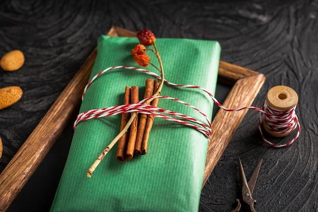 High angle cinnamon sticks on wrapping paper