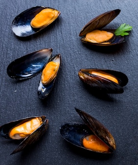 High angle close-up of boiled mussels
