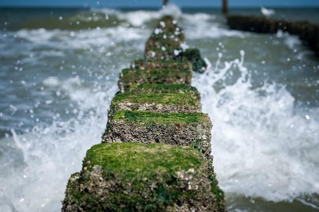 波状の海につながる上に苔が付いた石の高角度のクローズアップショット